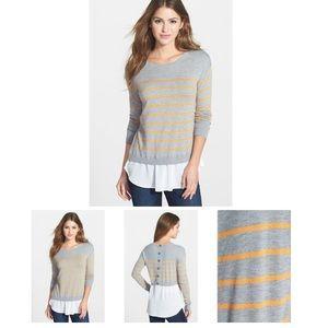 NWOT HALOGEN Woven Hem layered look Sweater.